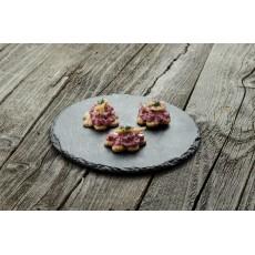 Crostini cu sfeclă roșie și păstrav afumat